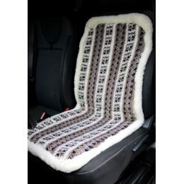 Накидка чехол на сидения автомобиля из овчины Sheepskin (Эко-шерсть) Универсальный защитный авточехол с окантовкой 1 шт Коричневый