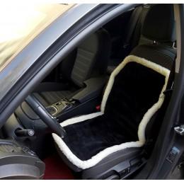 Накидка чехол на сидения автомобиля из овчины Sheepskin (Эко-шерсть) Универсальный защитный авточехол с окантовкой 1 шт Черный