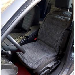 Накидка чехол на сидения автомобиля из овчины Sheepskin (Эко-шерсть) Универсальный защитный авточехол с окантовкой 1 шт Темно-серый