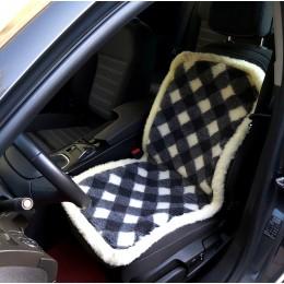 Накидка чехол на сидения автомобиля из овчины Sheepskin (Эко-шерсть) Универсальный защитный авточехол с окантовкой Ромбики 1 шт Желто-серый