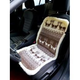 Накидка чехол на сидения автомобиля из овчины Sheepskin (Эко-шерсть) Универсальный защитный авточехол с окантовкой 1 шт Темно-коричневый
