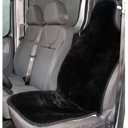 Накидка чехол на сидения автомобиля из овчины Sheepskin (Эко-шерсть) Универсальный защитный авточехол 1 шт Черный