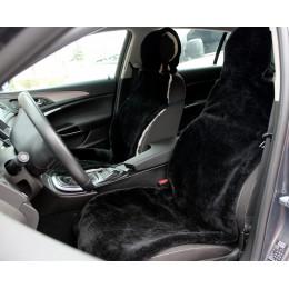 Универсальные Накидки чехлы на сидения автомобиля из овчины Sheepskin (Эко-шерсть) 2 шт Черные