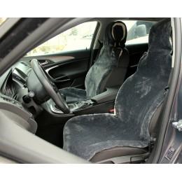 Универсальные Накидки чехлы на сидения автомобиля из овчины Sheepskin (Эко-шерсть) 2 шт Серые