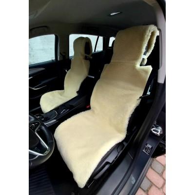 Универсальные Накидки чехлы на сидения автомобиля из овчины Sheepskin (Эко-шерсть) 2 шт Лимонные