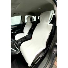 Универсальные Накидки чехлы на сидения автомобиля из овчины Sheepskin (Эко-шерсть) 2 шт Белые