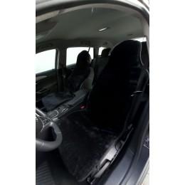 Накидки чехлы на сидения автомобиля из овчины Sheepskin (Эко-шерсть) Универсальные защитные авточехлы 2 шт Черные