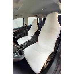Накидки чехлы на сидения автомобиля из овчины Sheepskin (Эко-шерсть) Универсальные защитные авточехлы 2 шт Белые