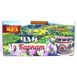 Подарочный набор вкусного Карпатского чая с карпатским мёдом, Натуральный травяной фиточай