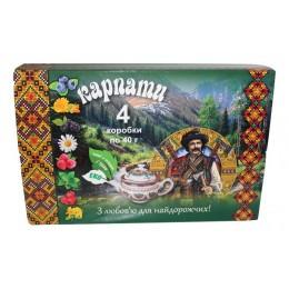 Подарочный набор вкусного Карпатского чая 4 коробки Натуральный травяной фиточай